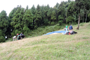 Preparation of paragliding at Deolo Hill-Kalimpong