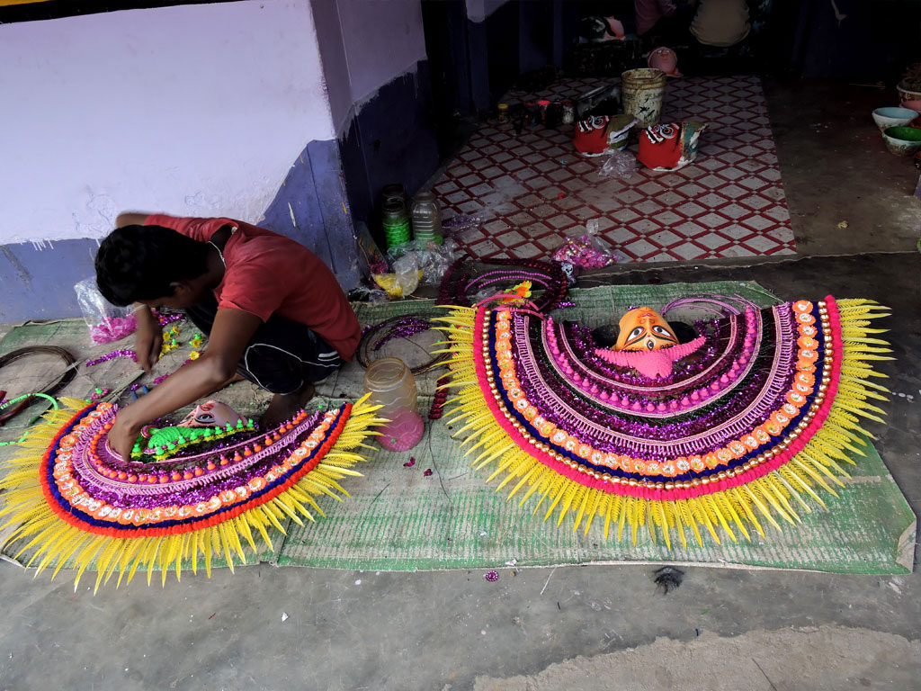 Chau dance Mask is preparing by local people in charida village at purulia in west bengal