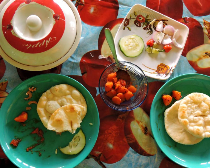 Breakfast at Pankarma Homestay at Icche Gaon or Echhey forest village