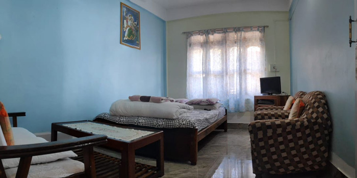Jaldakha home stay big bed room with tv and sofa