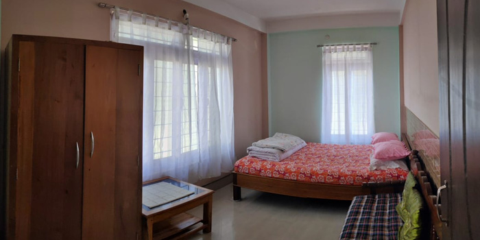 Jaldakha home stay big bedroom with wardrobe