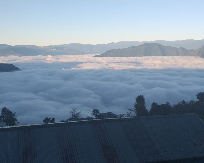 Amazing view of cloud at icche gaon, the village under the cloud at north bengal